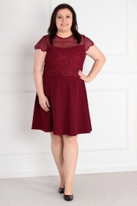 Sukienka DORIS plus size - bordowa