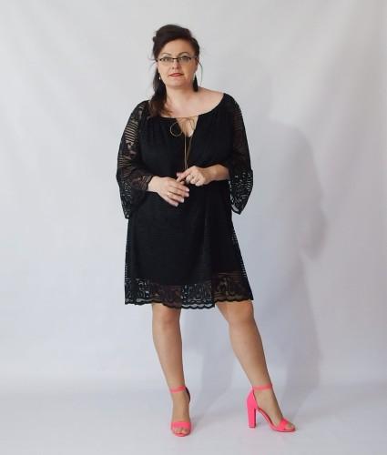 301728918d Sukienka boho ADELINA - czarna plus size Lamiaplussize.pl