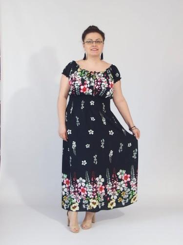 df371996ba Długa lekka sukienka ROKSANA czerwona kwiaty plus size granatowa ...